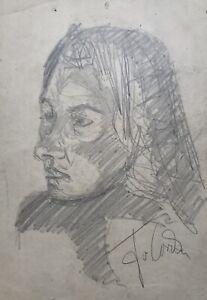 Dibujo-Retrato-Uno-Mujer-Chica-con-Schulterlangem-Cabello-20-9-X-29-7CM