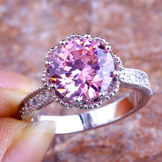 Lovely Gift Round Cut Pink & White Topaz Gemstone Silver Ring Sz 6 7 8 9 10 11