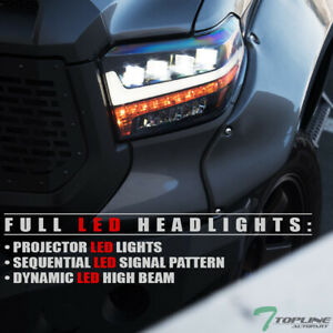 Topline For 14-20 Toyota Tundra Full LED Sequential Projector Headlights - Black