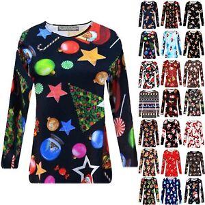 Women-Christmas-T-Shirt-Long-Sleeve-3D-Santa-Elf-Reindeer-Tops-T-Shirt-Xmas-Gift