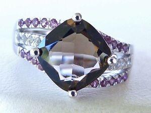 GENUINE-3-3tcw-Brazilian-Smokey-Quartz-Topaz-amp-Rhodolite-Ring-Solid-Silver-925
