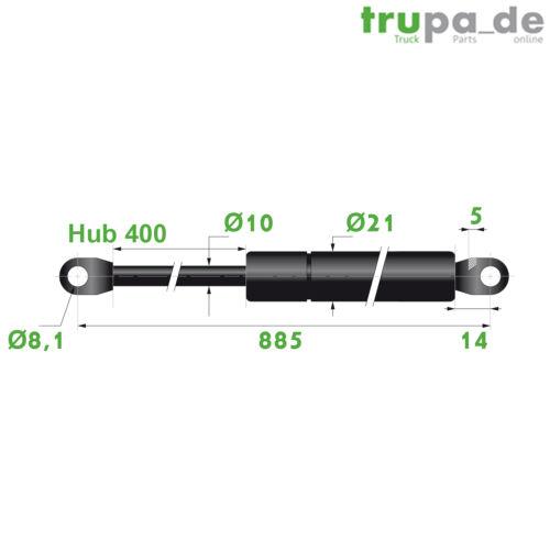Gasdruckfeder Lift Haubenheber 100N Ø 10//21 mm Made in EU Hub=400 Länge 885