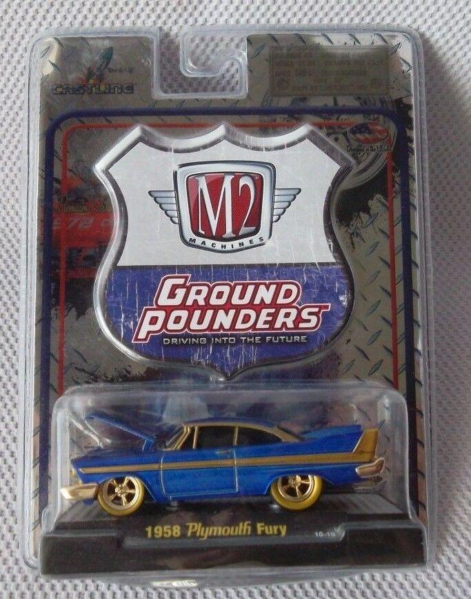 100% a estrenar con calidad original. 1958 Plymouth Fury M2 máquinas 2010 2010 2010 súper Chase (Azul) tierra fraguado versión 3  punto de venta barato