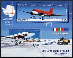 FSAT TAAF Aviation Stamps 2021 MNH Basler BT-67 Aircraft Logistics 2v M/S