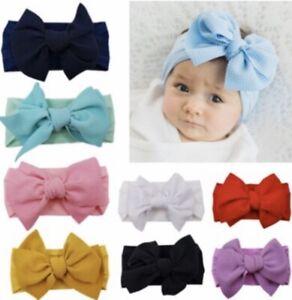 Handmade Infant Baby Girls Large Serre-tête Noeud Bébé Noeud Cheveux Band Head Wrap