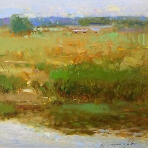 Summer Time, Landscape Original Oil painting  Handmade artwork One of a kind