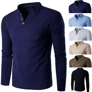 Fashion-Men-039-s-Long-Sleeve-Shirts-Cotton-Slim-Solid-Tee-Shirt-Tops-Men-T-Shirts