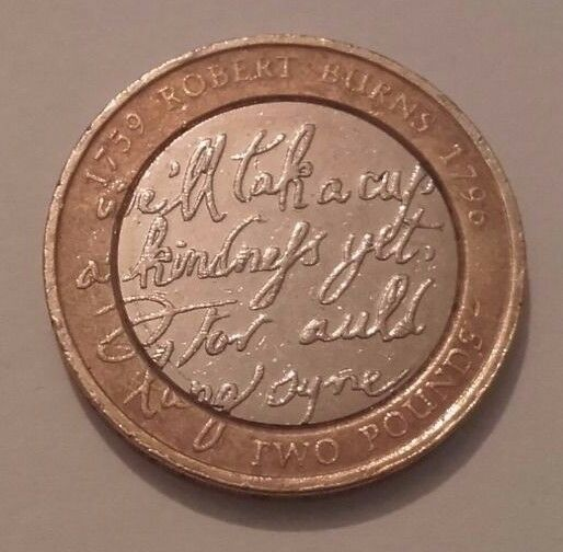 Rare £2 Coin - 250th Anniversary of the birth of Robert Burns _ Two Pound Coin .