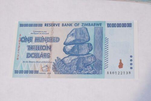 1 x 100 Trillion Dollars zimbabwe UNC 2008 series AA - PA91