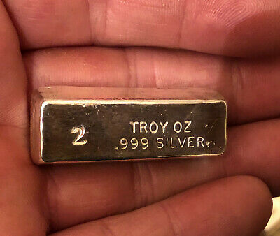 Hand Poured 999 Fine Silver Bar PURE Uncirculated 2 oz