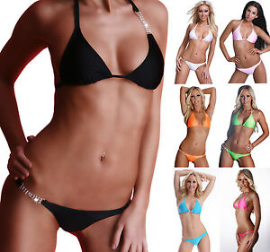 SeXy-Neckholder-String-Bikini-mit-2-Strassketten-NEON-Strass-36-38-40-S-M-L-SeXy