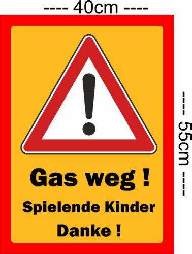 Schild Hinweisschild Achtung Kinder Gas weg  Aluverbund Wetterfest
