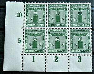 WW2-REAL-NAZI-3rd-REICH-ERA-GERMAN-BLOCK-OF-6-OFFICIAL-STAMPS-WITH-MARG-5-rf