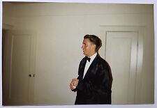 Vintage 90s  PHOTO Man In Tuxedo Waiting For Date to Come Out