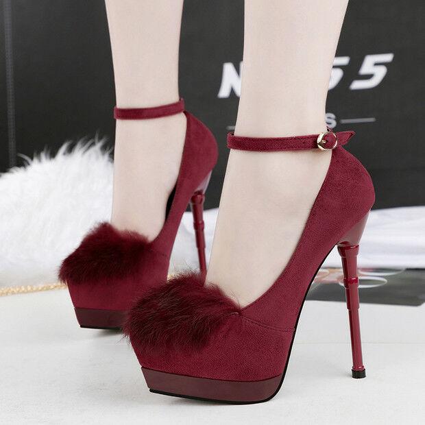 Decolte scarpe stiletto invernali 15  stiletto scarpe rosso lacci simil pelle comode 9610 3ad221