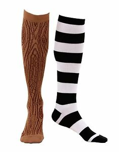 Details About Knee High Mismatched Pirate Socks Peg Leg Costume Striped Wooden Stockings