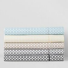 New Hudson Park Fitted Sheet Twin XL 500 Thread Count  Printed Tile  Medium Blue