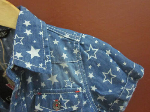 NEW Kids Boys Guess Star Print Washed Denim Short Sleeve Shirt Top 5//6