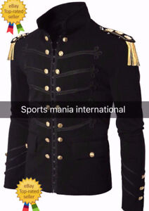 100 Black Hook Cotton Jacket Handmade Military Men Embroidery Napoleon 1aqW0f