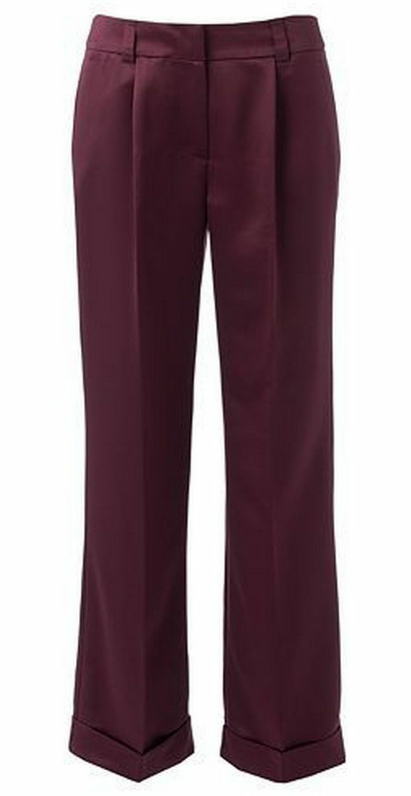 Jennifer Lopez JLo Burgundy Charmeuse Wide-Leg Trouser Pants