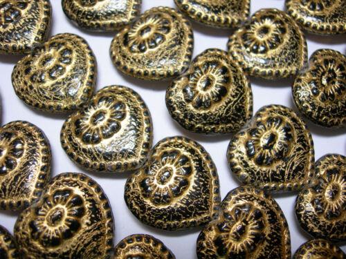 Vintage Design Czech Glass Jet Black with Gold Heart Beads 17mm x 18mm