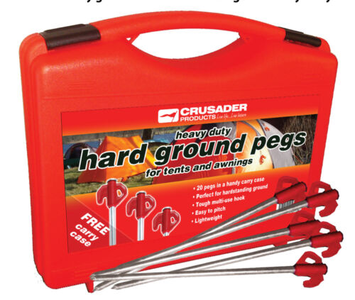 Orange Tops x 20 Crusader Heavy Duty Hard Ground Tents /& Awnings Pegs