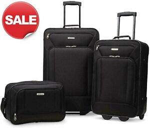 "American Tourister Fieldbrook XLT 3 Piece Luggage Set Black 25"" 21"" Softside"