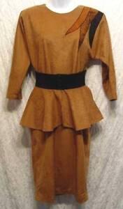 VINTAGE-1980s-Brown-ULTRA-SUEDE-Peplum-ELASTIC-Belt-GRAPEVINE-LTD-Dress-5-6