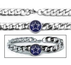 7f8942a59793e Dallas Cowboys Stainless Wide 12mm Womens Mens Link Chain Bracelet ...