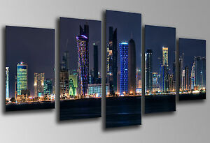Cuadro fotografico Ciudad Dubai Rascacielos, Base Madera 145x62 cm, ref.26198