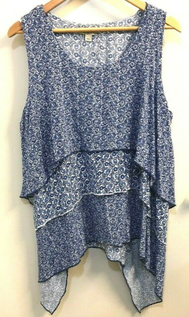 One World 1X Tank Top Blouse LIVE & let LIVE Blue/White LAYERED shirt Lagenlook