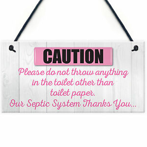 Bathroom Signs Toilet Paper Only only toilet paper hanging septic tank plaque bathroom thank you