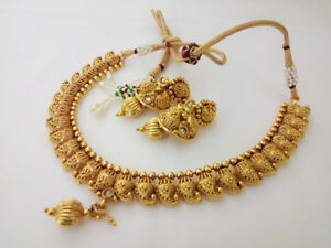 Details about Indian antique Jewelry Necklace Set bollywood ethnic gold  Plated Traditional