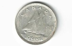 CANADA-1948-TEN-CENTS-DIME-KING-GEORGE-VI-800-SILVER-COIN-CANADIAN