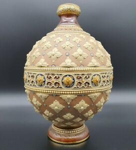 antike-V-amp-B-Villeroy-amp-Boch-Mettlach-Ritzmarke-Vase-1241-um-1890-16cm-23-5cm