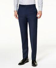 Calvin Klein Men's Gray Plaid Slim Fit Flat Front Stretch Pants 42 W 30 L
