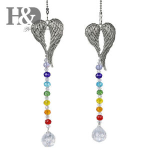 2PCS-Rainbow-Crystal-Chakra-Suncatcher-Hanging-Angle-Wing-Pendant-Window-Decor