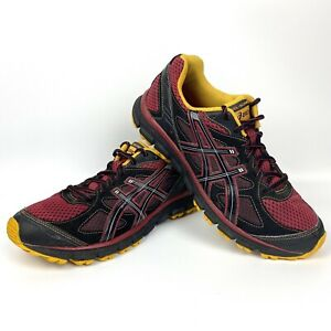 Men-039-s-ASICS-GEL-Scram-T2J1N-Black-Red-Yellow-Durable-Trail-Running-Shoes-US-7