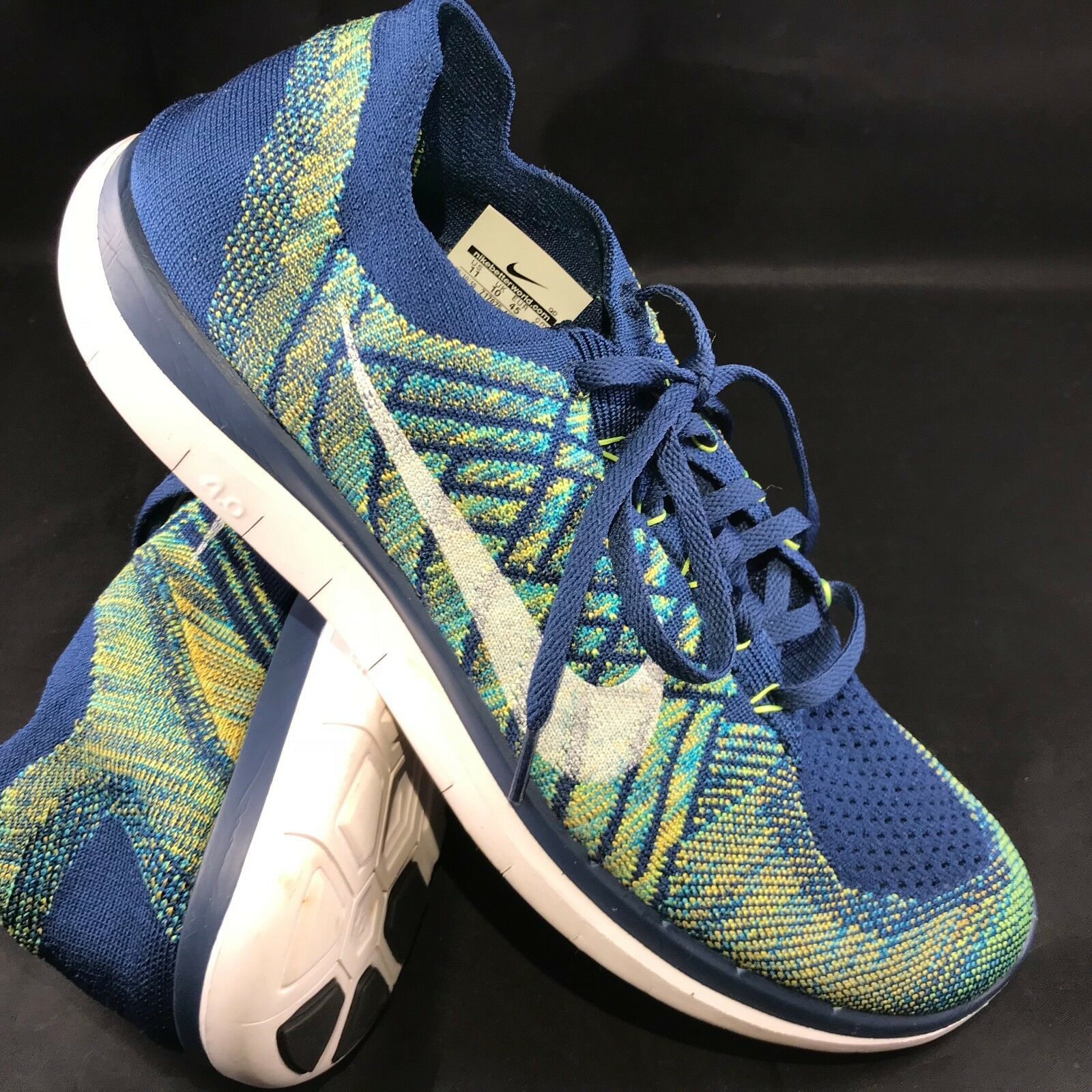 Nike 4.0 Flyknit Men's Running shoes Brave bluee Volt Navy Sz 11 45 EUR 717075-402
