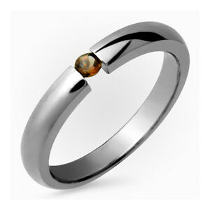 Image Is Loading Anium Smokey Topaz Tension Set Band 3mm Wide