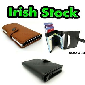 Quality-Wallet-RFID-Alu-Slide-Card-Holder-Men-039-s-Wallet-Men-Pu-Leather-Purse