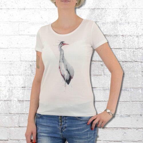 Greenbomb T-Shirt Damen Animal Fischreiher weiss Frauen Tshirt Heron
