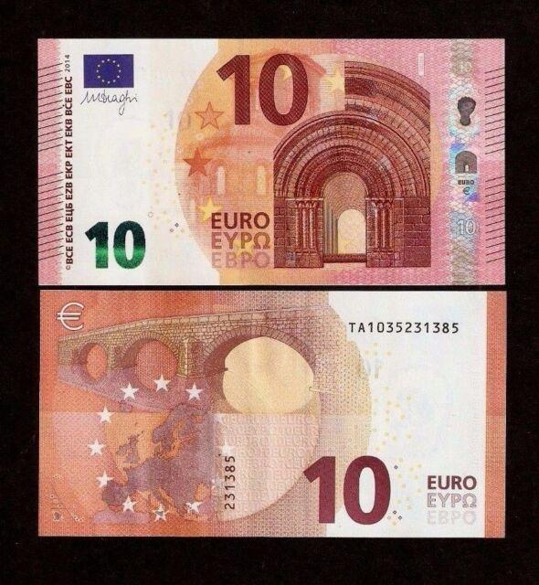 10 x European Union Ireland 10 Euros,Lot Europe 2014 (TA) Series Draghi Unc Note