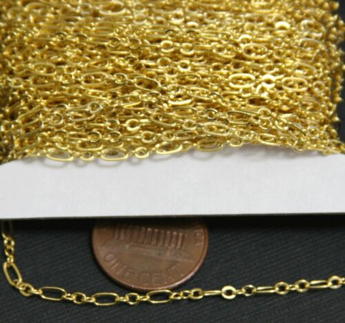32ft spool Gold Plated Long and Short chain 4.5X2.5mm