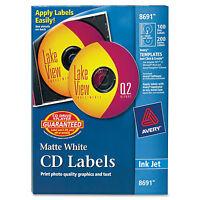 Avery Inkjet Cd Labels Matte White 100/pack 8691 on sale