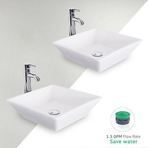 Image Is Loading 2 PCS White Square Bathroom Ceramic Vessel Sink