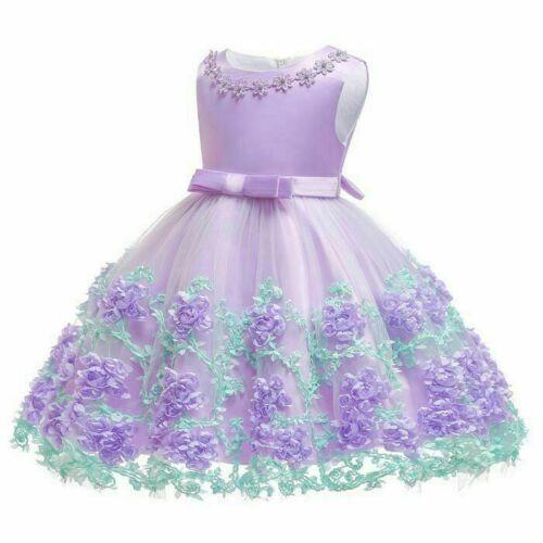 Robes Fille Bébé Princesse Robe Fleur formelle Kid Tutu Demoiselle D/'honneur Mariage Fête