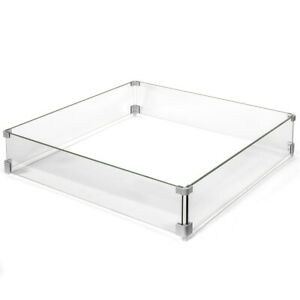 Outdoor Fire Pit Wind Screen Amp Flame Guard Square Clear Glass 29 5 Quot X 29 5 Quot Inch Ebay