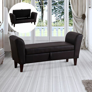 end of bed sofa. Image Is Loading PU-Leather-Storage-Bed-Footstool-Bed-End-Sofa- End Of Bed Sofa