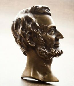 Antique-Bronze-Profile-Portrait-Sculpture-of-Abraham-Lincoln